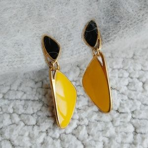 Mod Gold Plated Black Yellow Clip on Earrings